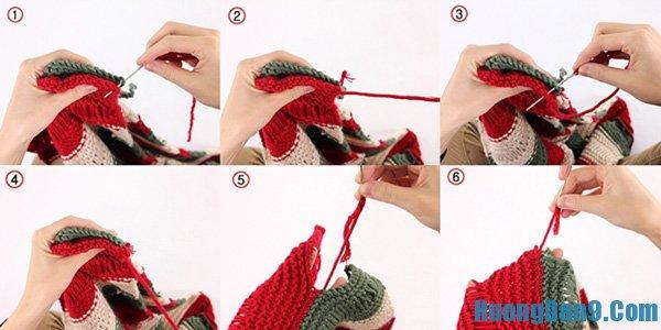 Cách đan khăn len ba màu kiểu ống