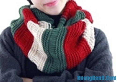 Cách đan khăn len kiểu ống ba màu