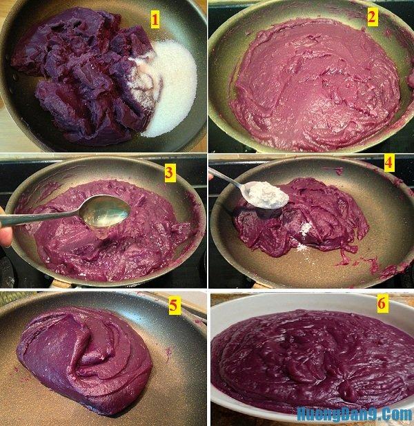 Công thức làm nhân bánh dẻo khoai lang tím nhuyễn mịn, hấp dẫn
