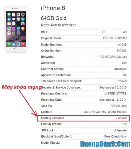 Nhận biết iPhone lock và quốc tế qua check iMei iPhone