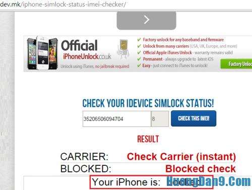 Hướng dẫn check iMei iPhone
