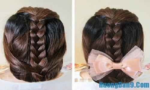 Bước hoàn thiện cách tết tóc gắn nơ đẹp, quyến rũ