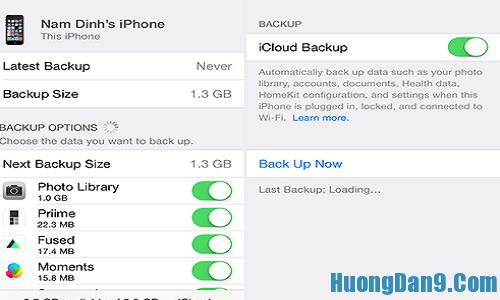 Sao lưu dữ liệu bằng tính năng icloud trước khi cập nhật phiên bản ios 9 cho iphone, ipad