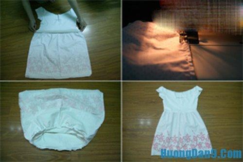 Cách may áo phông cũ thành váy mới