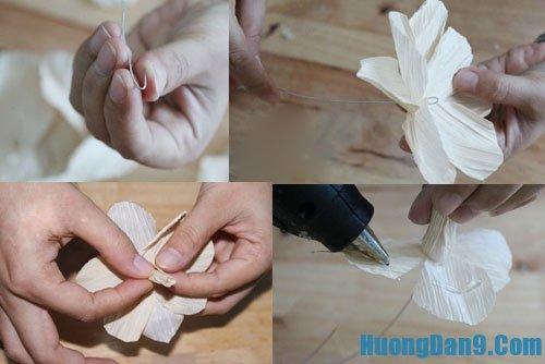 Dạy cách làm hoa giả từ vỏ ngô
