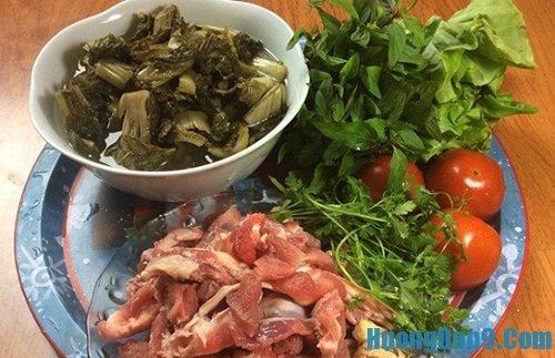 Nguyên liệu chuẩn bị cách làm gân bò hầm dưa chua