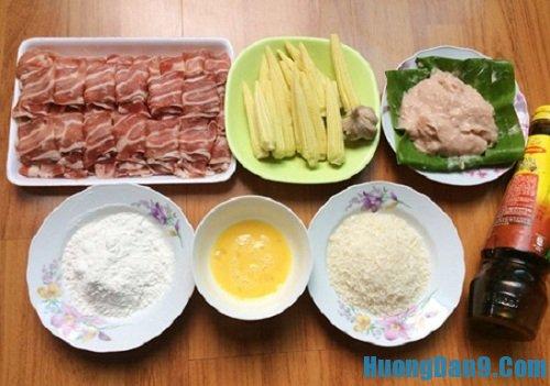 Nguyên liệu chuẩn bị cho cách làm thịt bò cuốn ngô non chiên xù
