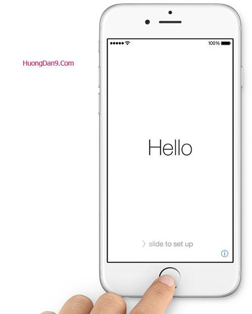 Bắt đầu cài đặt iPhone 6 sau khi mở nguồn, trượt sang phải để cài