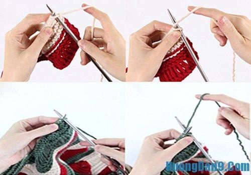Cách đan khăn len ống ba màu