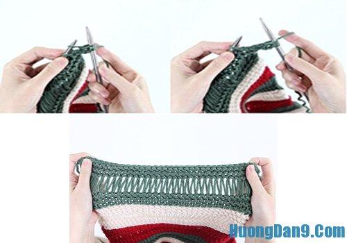 Cách đan khăn len đẹp ba màu