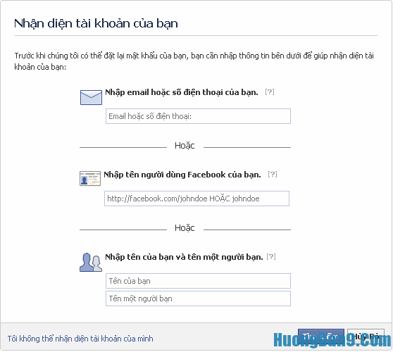 Lấy lại mật khẩu Facebook bằng cách dùng email hoặc số điện thoại đã đăng kí