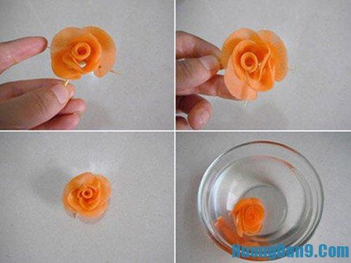Các bước tỉa cà rốt thành hoa hồng