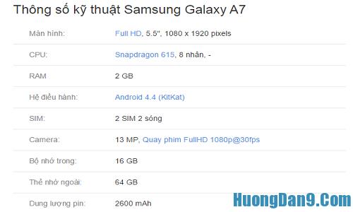 Kiểm tra Samsung Galaxy A7 chính hãng bằng thông số kĩ thuật cơ bản