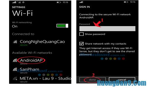 Phát wifi bằng điện thoại di động chay hệ điều hành android