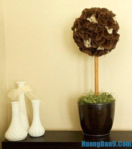 Hướng dẫn làm hoa cẩm tú cầu bằng vải thô