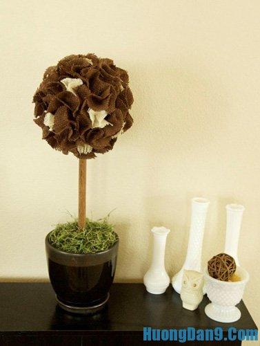 Cách làm hoa cẩm tú cầu bằng vải thô ấn tượng