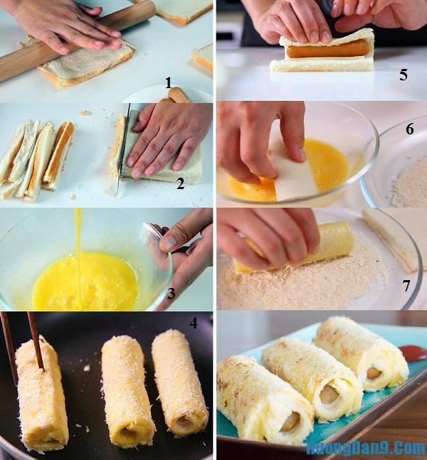 Các bước hướng dẫn chi tiết cách làm bánh mì trứng cuộn phô mai, xúc xích thơm ngon, bổ dưỡng tại nhà