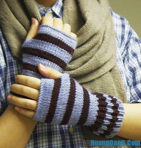 Hoàn thành cách đan găng tay len không ngón