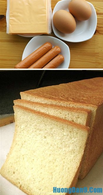 Những nguyên liệu cần chuẩn bị để làm bánh mì trứng cuộn phô mai, xúc xích thơm ngon, bổ dưỡng tại nhà