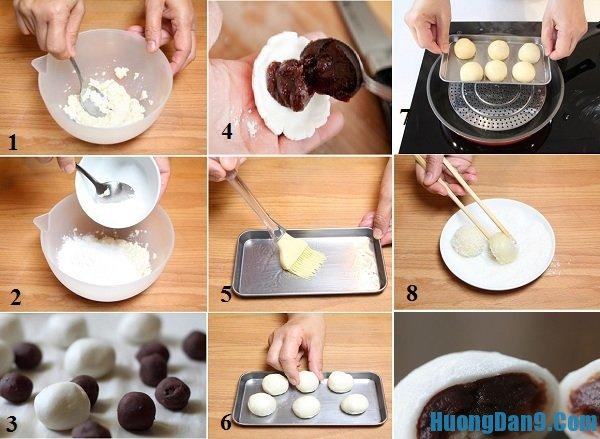 Chi tiết các bước thực hiện làm bánh mochi đậu phụ nhân đậu đỏ phủ dừa nạo thơm ngon, lạ miệng tại nhà