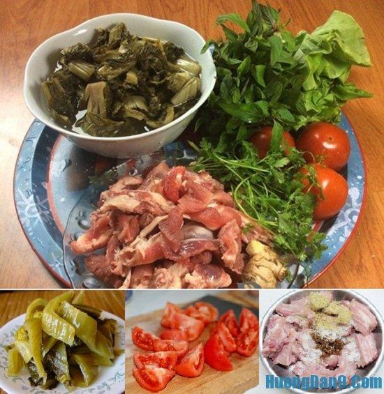 Chuẩn bị và sơ chế nguyên liệu để nấu canh sườn non om dưa chua thơm ngon tại nhà