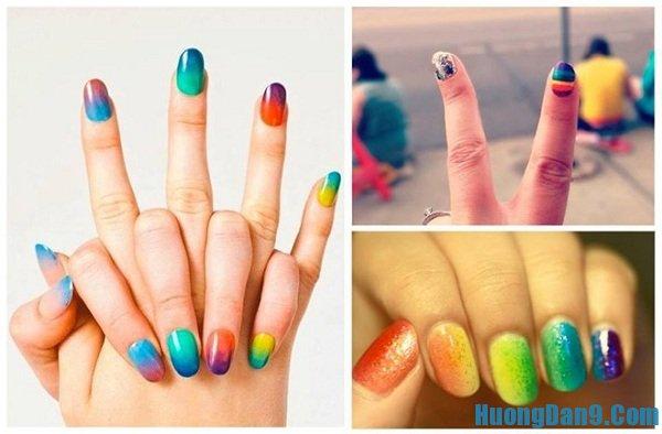Hướng dẫn cách vẽ mẫu nail đa sắc cho móng tay xinh và lạ mắt tại nhà