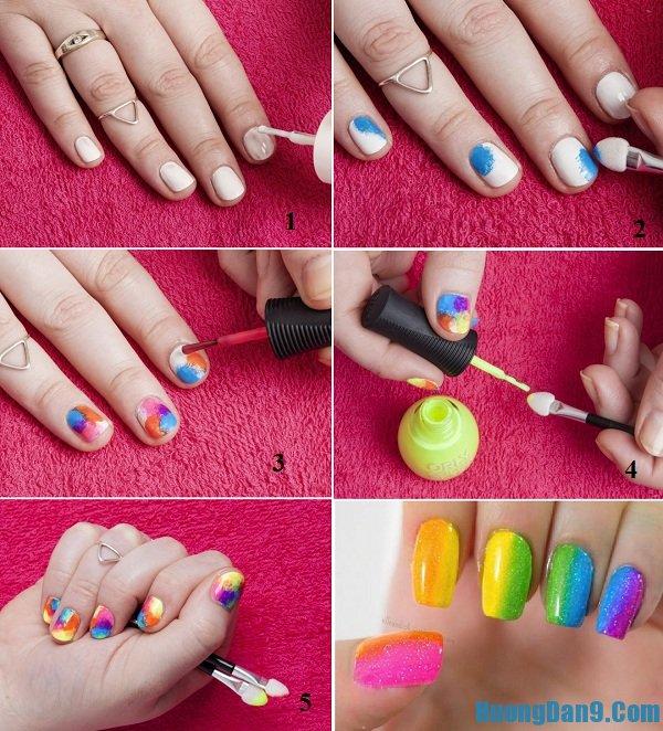 Hướng dẫn chi tiết các bước vẽ mẫu nail đa sắc cho móng tay đẹp xinh