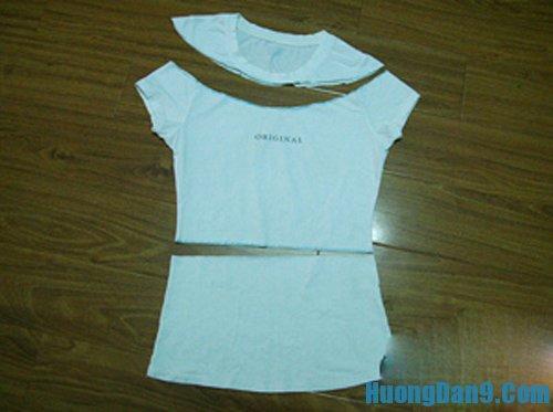 Hướng dẫn chế áo phông thành váy đơn giản