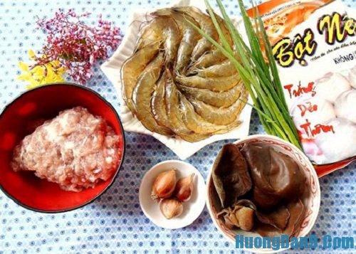 Nguyên liệu cần chuẩn bị cho thực hiện cách làm bánh nếp nhân tôm thịt
