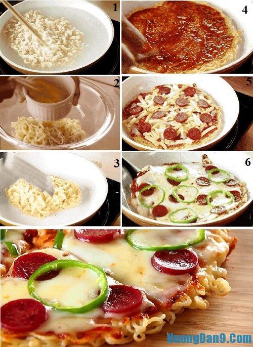 Hướng dẫn chi tiết các bước thực hiện công thức làm pizza mì tôm ngon, độc lạ tại nhà