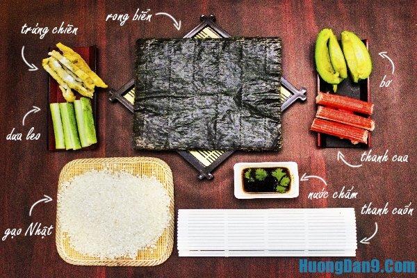 Nguyên liệu cần có để làm Sushi
