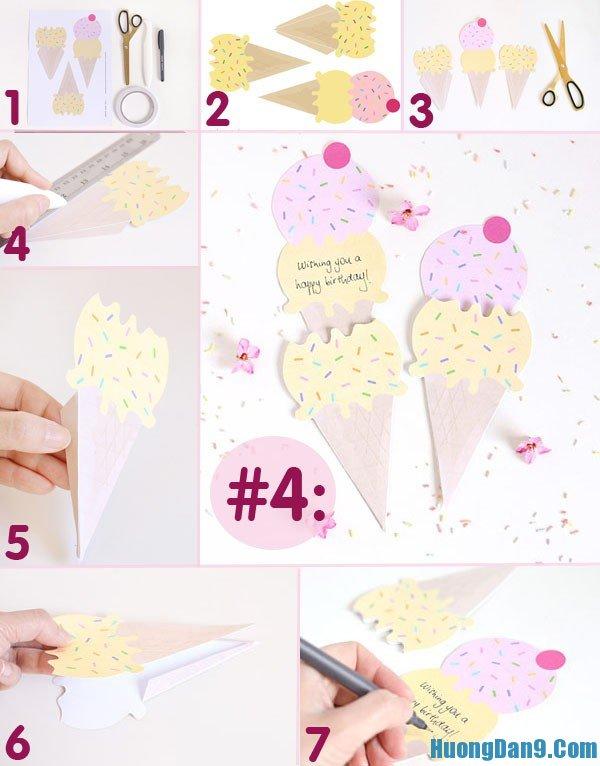 Hướng dẫn cách thực hiện thiệp 20/10 hình que kem đáng yêu tại nhà