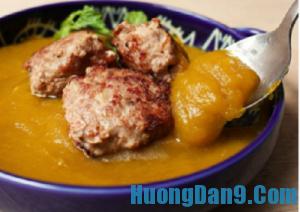 Hướng dẫn cách làm súp bí đỏ thịt viên ăn là nghiền