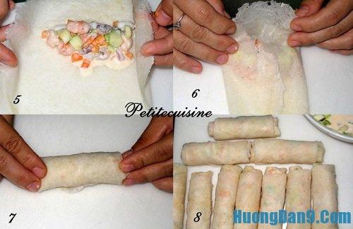 Tiến hành thực hiện cách làm chả giò trái cây hải sản