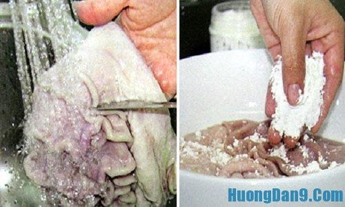 Sơ chế nguyên liệu thực hiện cách làm dạ dày sốt chua ngọt