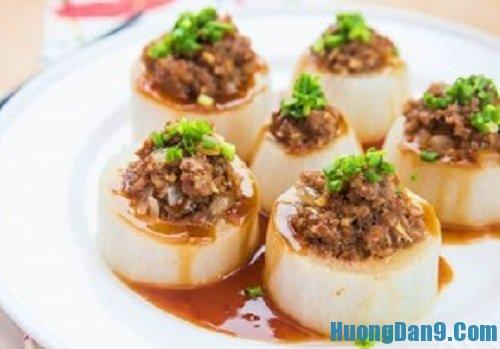 Hướng dẫn cách làm củ cải nhồi thịt bò hấp thơm ngon nóng hổi