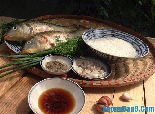 Nguyên liệu chuẩn bị cách nấu cháo cá chép tại nhà