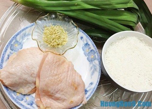Nguyên liệu thực hiện cách làm cơm gà lá dứa thơm ngon
